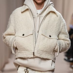 Ami Alexandre Mattiussi cream wool bomber jacket